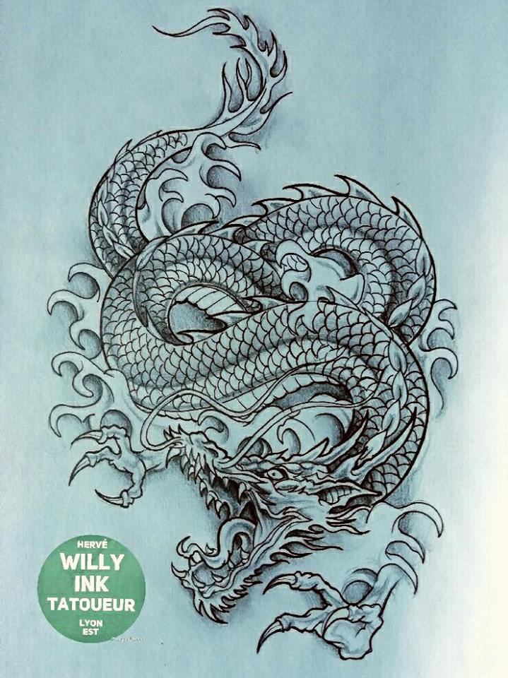 Tatouages De Dragon Realises Par Herve Willy Ink